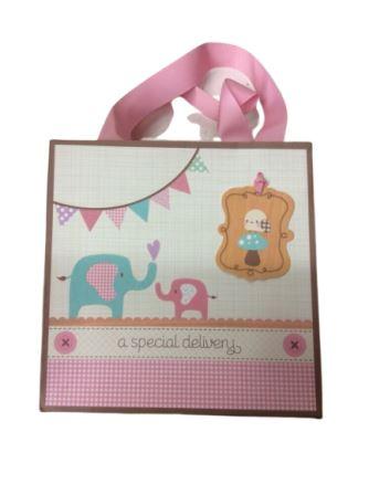 Baby Shower Pink Elephants Gift bag