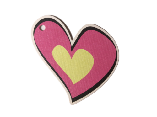 Matte Finish Pink Yellow Hearts Gift Tags