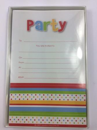 Rainbow Polka Dot Spot & Stripe 'Party' Invitations