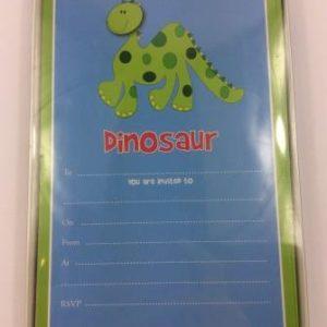 Green Spotty Dinosaur Birthday Party Invitations