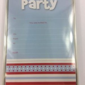 Blue Multi-Striped 'Party' Invitations