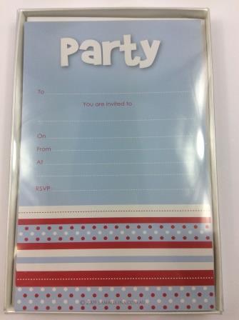 Blue Multi-Striped 'Party' Invitations