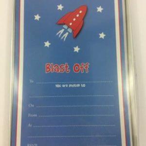 Space Rocket Blast Off Astronaut Party Invitations