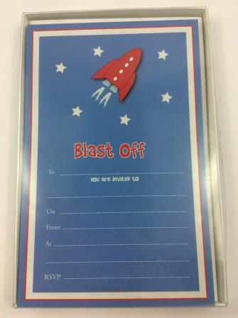 Space Rocket Blast Off Astronaut Party Invitations