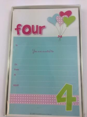 Four Year Old Girls 4th Birthday Party Invitations