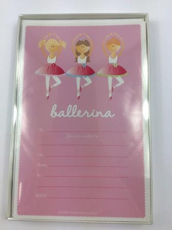 Ballerina Ballet Birthday Dance Party Invitations