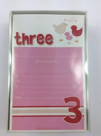 Girl Third 3rd Birthday Party Invitations