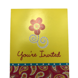 Summer Paisley Yellow Floral Birthday Party Invitations