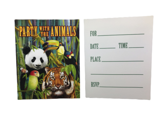 Wild One Wild Jungle Animals Party Invitations