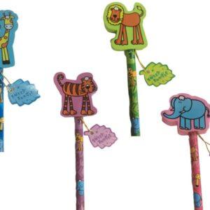 Jungle animals pencil eraser sets