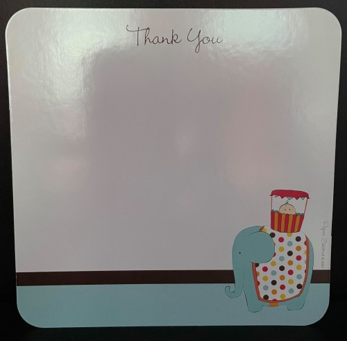 Baby shower journey home elephant thank you cards