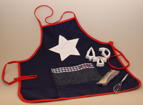 Blue Apron and cookie cutter Set