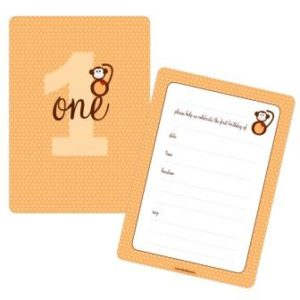 Wild one monkey birthday party invitations