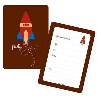Space Rocket Astronaut Birthday Party Invitations