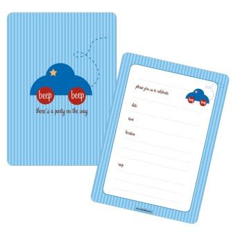 Blue Car Baby Shower 1st Birthday Party Invitations
