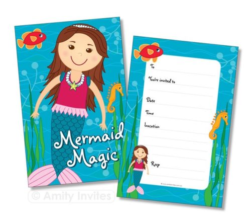 Mermaid Magic Under the Sea Party Invitations