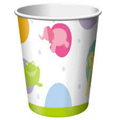 Baby shower zoo animals paper cups