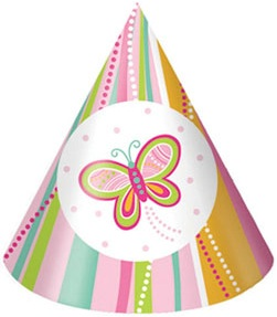 Butterfly Pink Paisley Birthday Party Hats