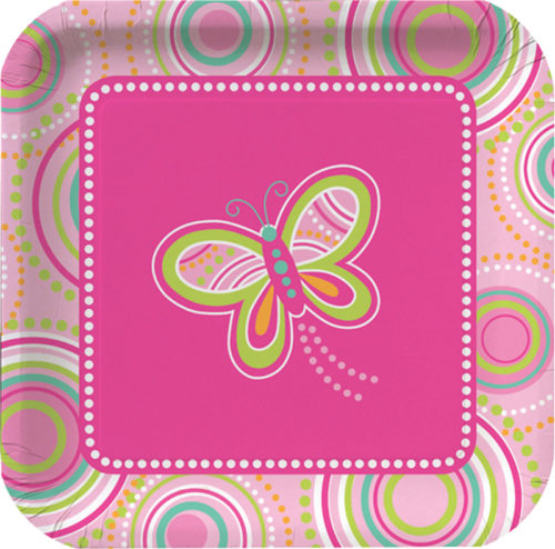 Butterfly birthday party paper plates