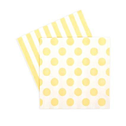 Limoncello Yellow Spot and Stripe Beverage Napkins