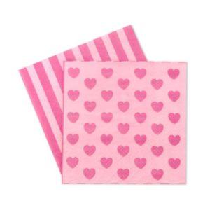 Pink Heart Princess Beverage Napkins