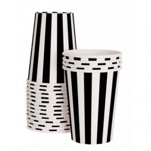 black and white striped paper cups