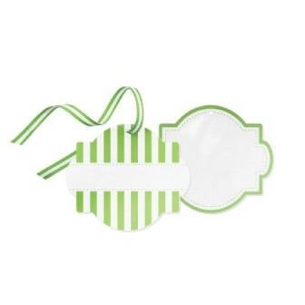Green striped styling tags
