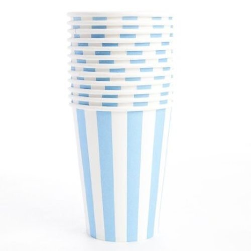 baby blue striped paper cups