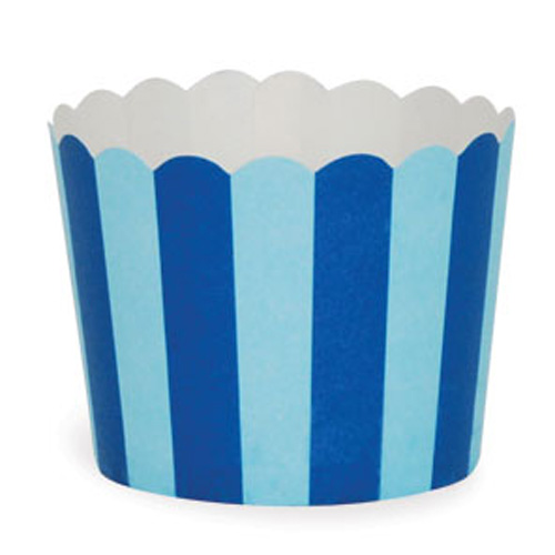 Blue striped baking cups