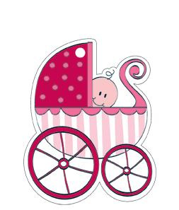 Pink Baby Shower Baby Carriage Gift Tags
