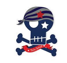 Skull & Crossbones Pirate Birthday Party Invitations