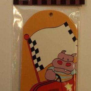 Car Racing Hippo Animal Party Bag Tags