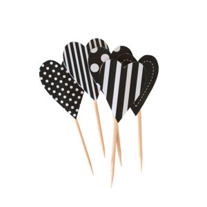 Black Spot and stripe heart cupcake topper