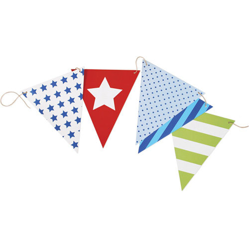 blue paper bunting flags