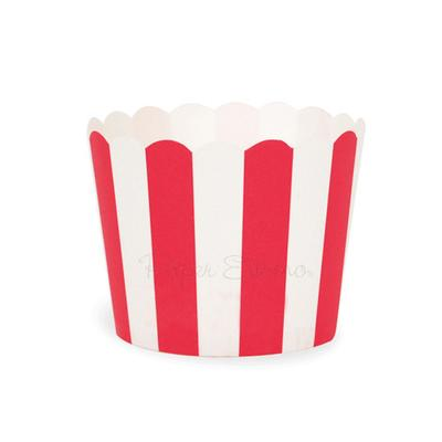 Carnival red striped baking cups