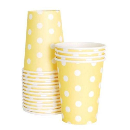 Limoncello yellow polka dot paper cups