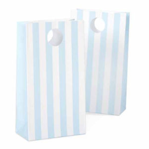Baby powder blue striped party bags