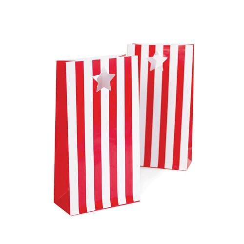 red white striped paper party bags
