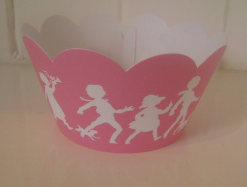 Vintage Children Playing Pink Cupcake Wrappers