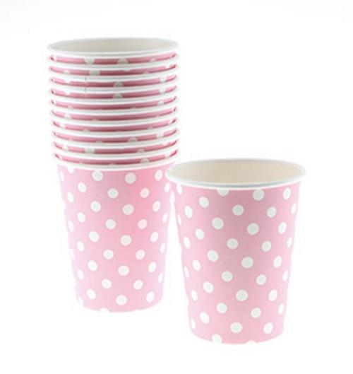 pink polka dot paper cups Sambellina
