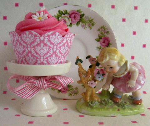 Pink Damask Cupcake Wrapper Vintage Baby Shower