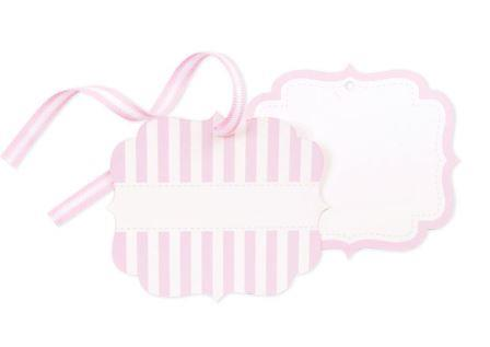 Pink Candy carnival striped tags