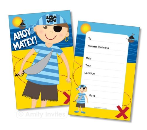 Pirate Captain Birthday Party 'Ahoy Matey' Invitations