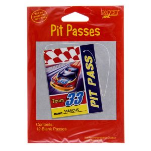 car racing party pit passes kids design