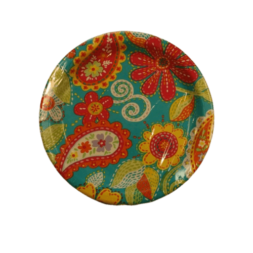 summer paisley dessert paper plate