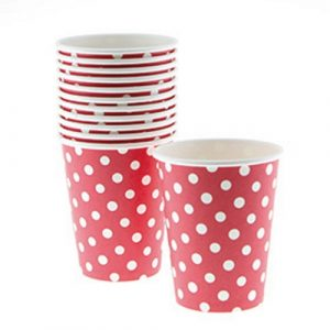 red polka dot paper cups