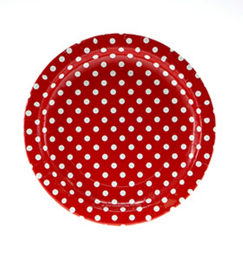 Red polka dot paper plates