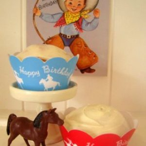 Cowboy theme, rodeo rider cupcake wrappers.