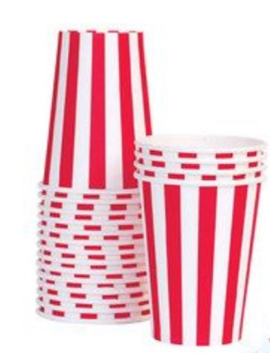 ruby red striped paper cups