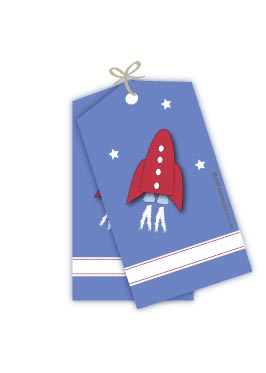 Red Rocket Space Bound Gift Tags